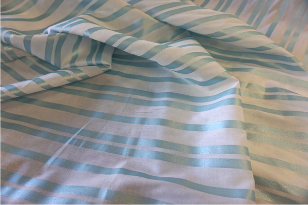 Fine Japanese Poplin with Blue Pearl Stripe Print