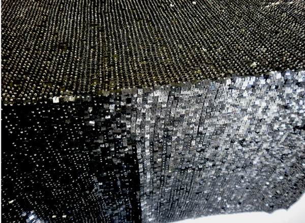 Square Sequins and Beads on Georgette, Black