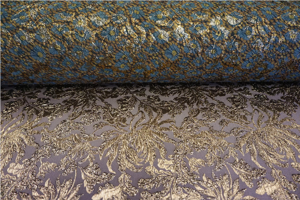 Reversible Stretch Brocade Double Cloquè Jacquard