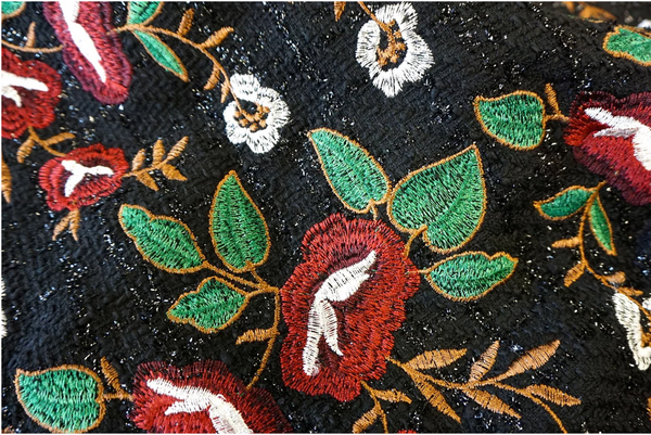 Embroidered Tweed, Red Bouquet on Black Lurex
