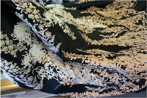Exquisite Embroidered and Printed Double Duchesse Satin, Black