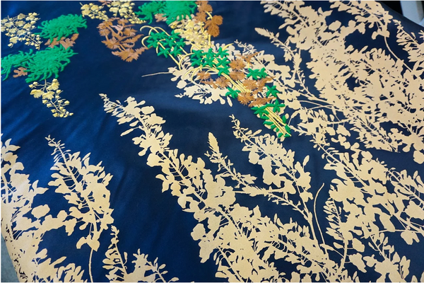 Exquisite Embroidered and Printed Double Duchesse Satin, Royal Blue