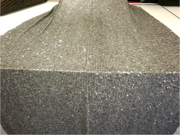 Silver Pewter Armour Sequinned Georgette