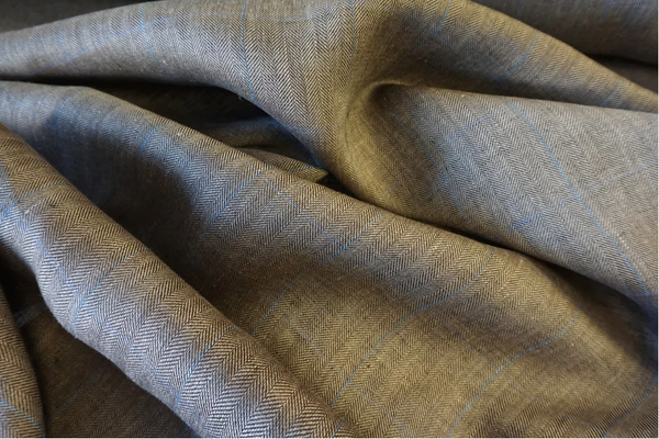 Wide Check Herringbone Linen Suiting