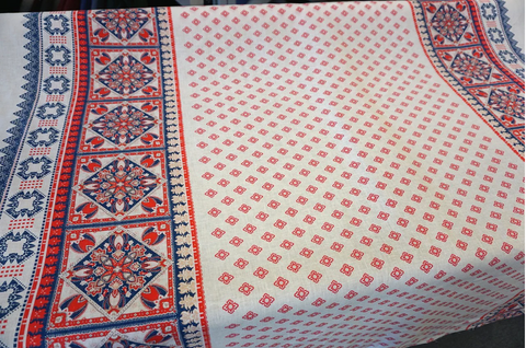 Double Border Folk Print on White Linen