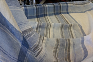 Blue Check & Stripe Muslin Linen