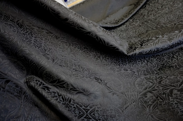 Black on Black Cotton Blend Jacquard