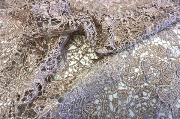 Macramè Guipure Lace, Metallic Rose Gold