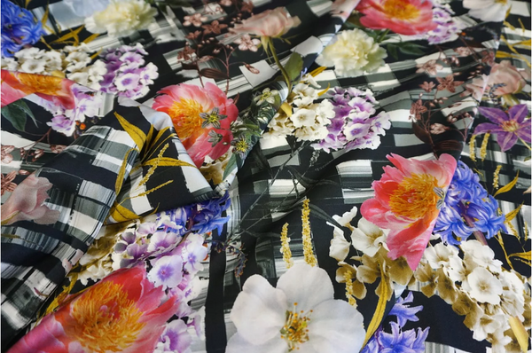 Check Bouquet Print on Stretch Silk Satin