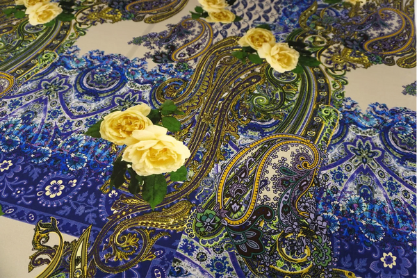 Paisley Rose Print on Stretch Satin