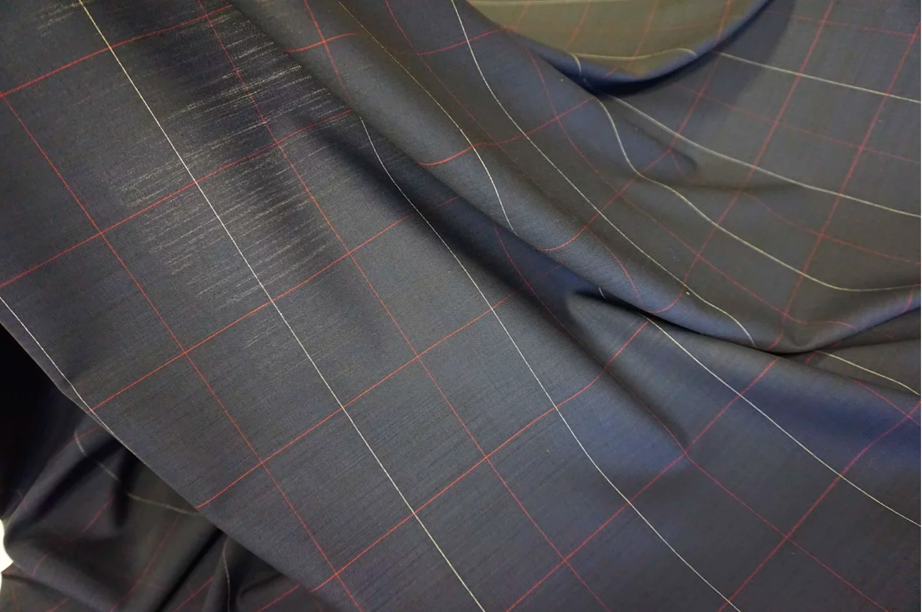 Premium Windowpane Check Suiting, French Navy