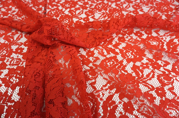 Scalloped Corded Italian Lace, True Red