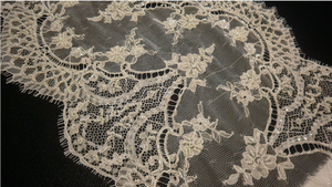 Hand beaded Chantilly Lace, Double Scallop Ivory