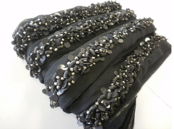 Stacked Sequin Beaded Trim, Black