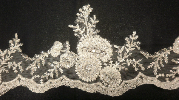 Floral Motif Beaded Border Trim