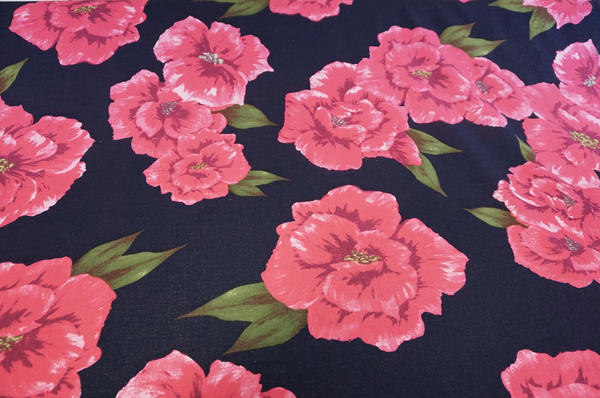 Large Pink Floral Print on Navy Cotton