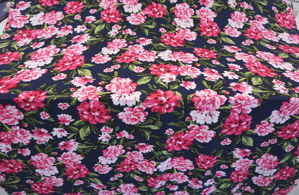 Pink Peonies Print on Navy Cotton