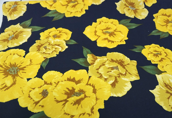Large Yellow Floral Print on Navy Cotton