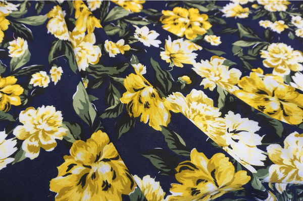 Yellow Peonies Print on Navy Cotton