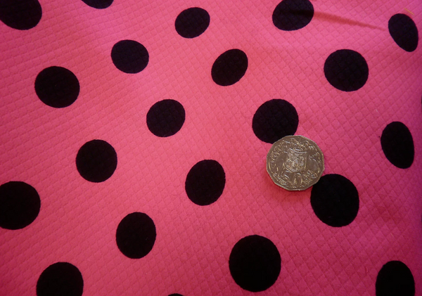 Hot Pink Embossed Polka Dot Print