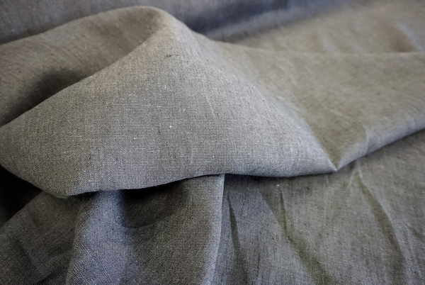 Charcoal Grey Plain Linen Chambray