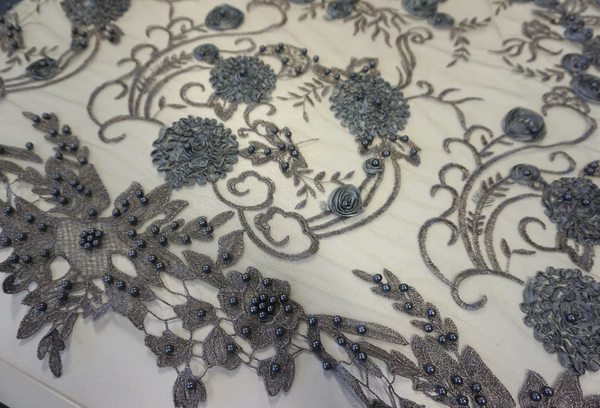 Grey Embroidered and Beaded Tulle Lace