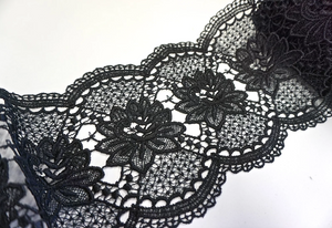 French Guipure Lace Trim, Black