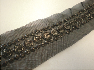 Metal Bronze Beading on Black Tulle
