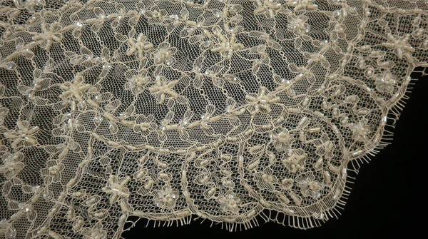 Double Scalloped Glass Beaded Lace Trim, Ivory