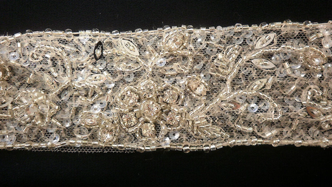 Glass Bead Embellishment, Straight Trim