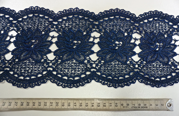 French Guipure Lace Trim, Navy