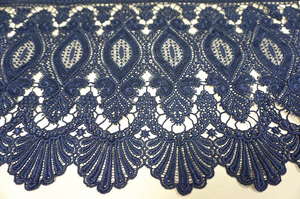 French Guipure Lace, Dark Blue