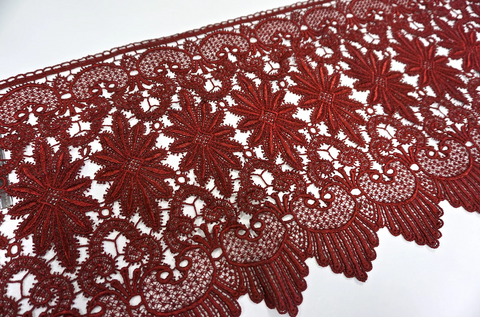 French Guipure Lace, Blood Red