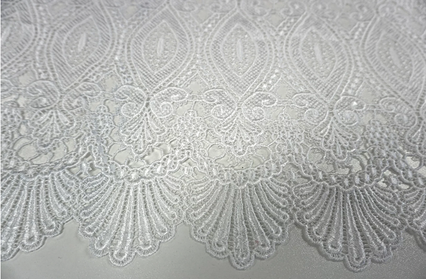 French Guipure Lace, Pure White