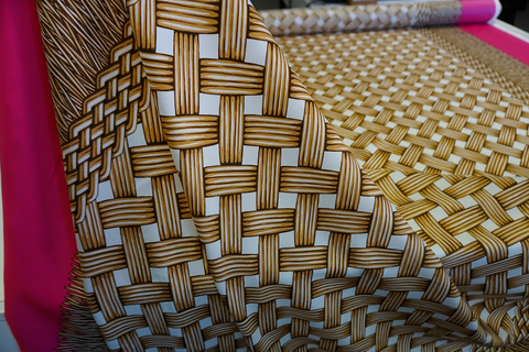 Silk Twill Wicker Print, Double Border