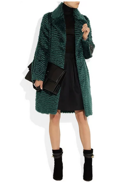 Shearling Look, Long Mohair Coating, Forest Green