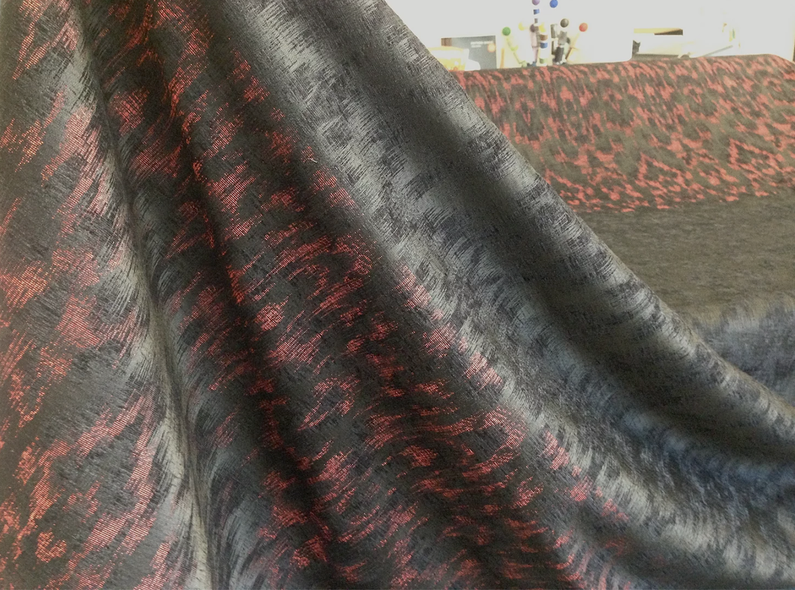 PANEL- Volcano Red & Black Ikat Jacquard