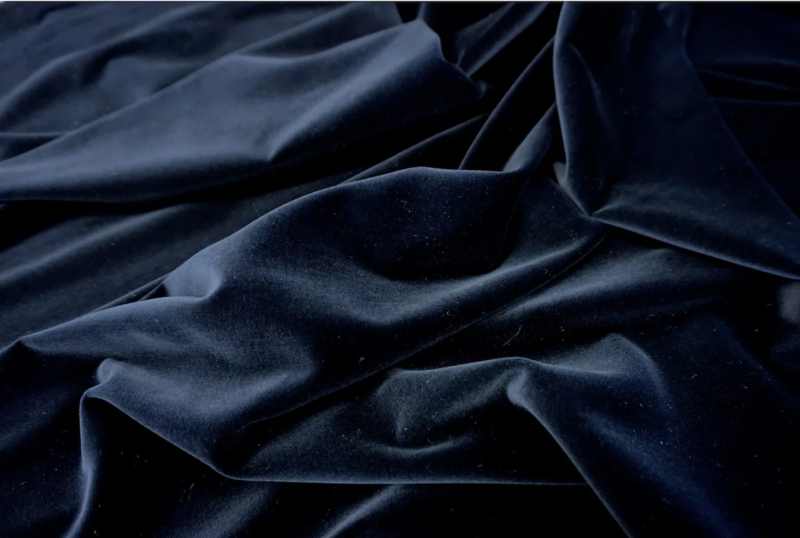 Deep Navy Cotton Velvet