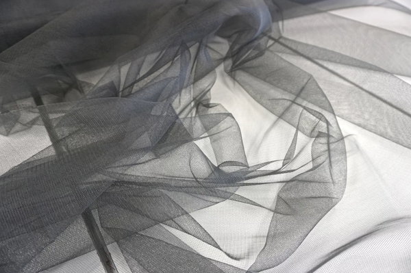 Dark Grey Silk Tulle Netting