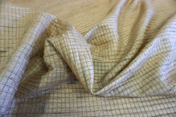 Slubbed Check, Peace Ahimsa Silk (Tussah)