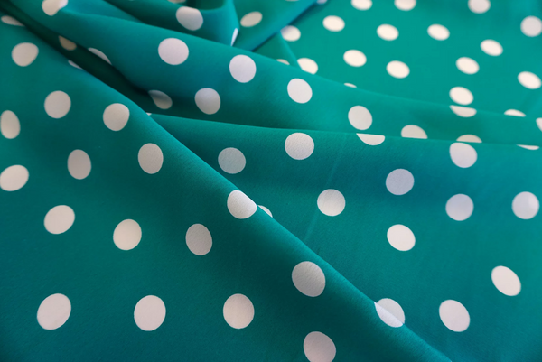 Crepe de Chine Polka Dot, Jade Green