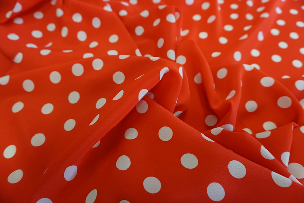 Crepe de Chine Polka Dot, Fire Red