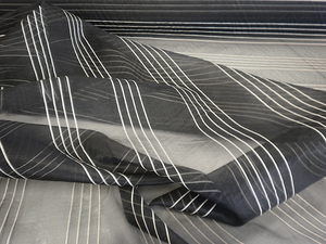 Black & White Stripe Silk Organza