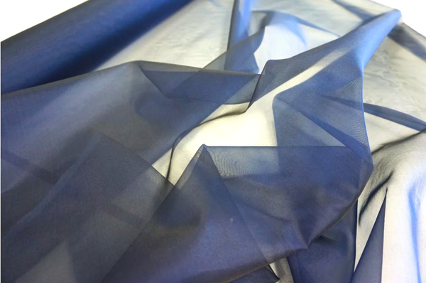 Navy Silk Organza