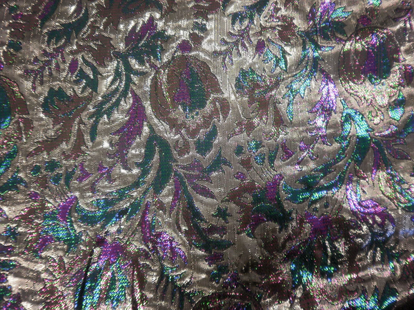 Thistle Flower Lamè Brocade, Silver & Purple
