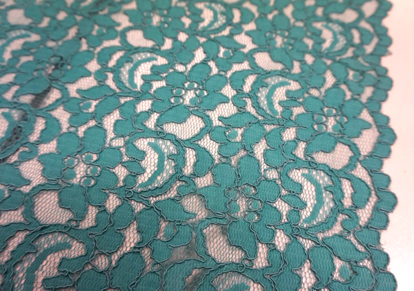 Scalloped Corded Lace, Teal Green