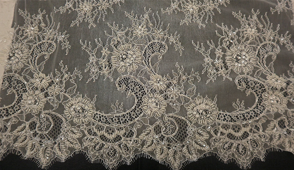 Chantilly Lace With Crystal Beading, Ivory