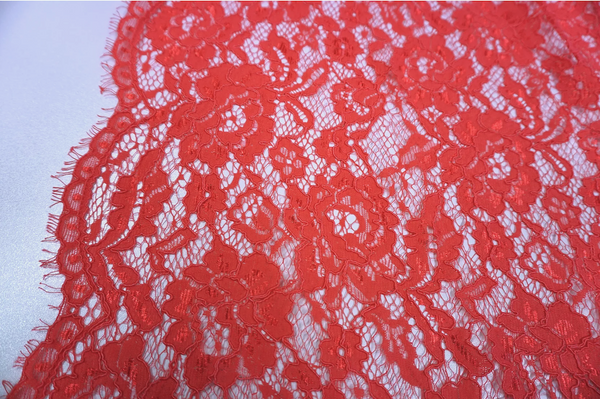 Corded Chantilly Double Scalloped Lace, Watermelon