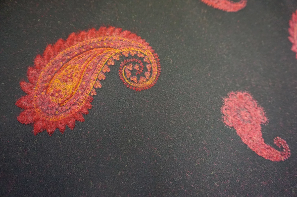 Brushed Red Paisley Jacquard Coating