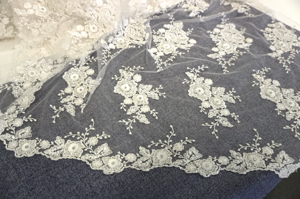 Scalloped Ivory Embroidered Tulle